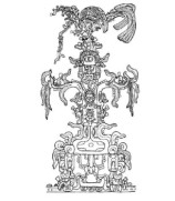 Representacion del ma�z en la Cruz foliada de Palenque.