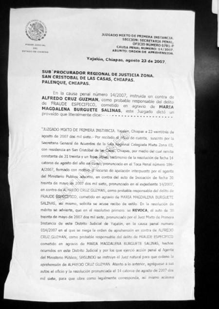 Orden de aprehensión en contra de Alfredo Cruz Guzmán (Primera Foja)