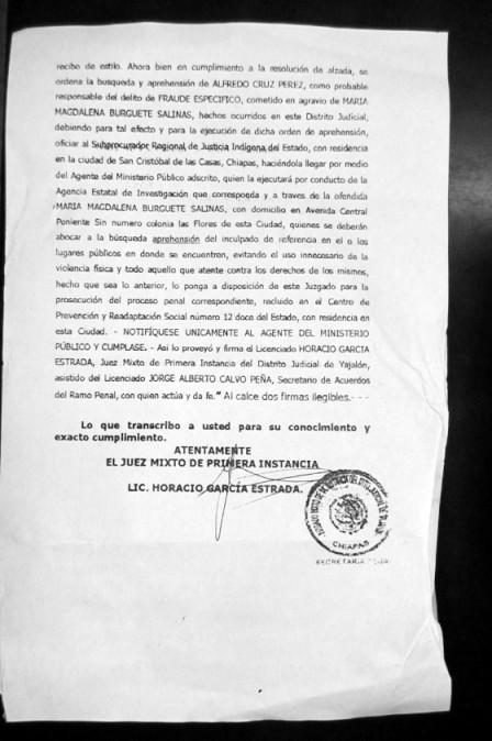 Orden de aprehensión contra Alfredo Cruz Guzmán (Segunda Foja).