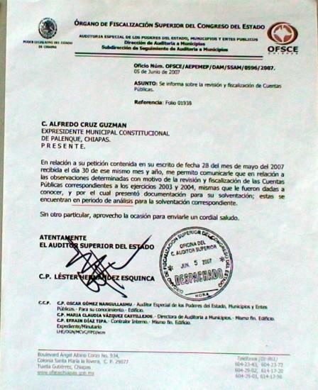 Oficio del Organo de Fiscalización (dar clic para ampliar)