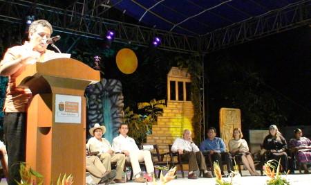 Sabines Guerrero inauguró el encuentro ambiental ind�gena.