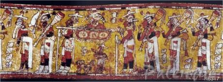 Vasija donde se representa un camino prehispánico maya.