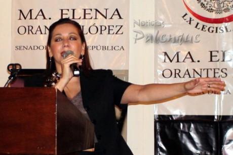 La senadora rindió informe legislativo en Palenque.